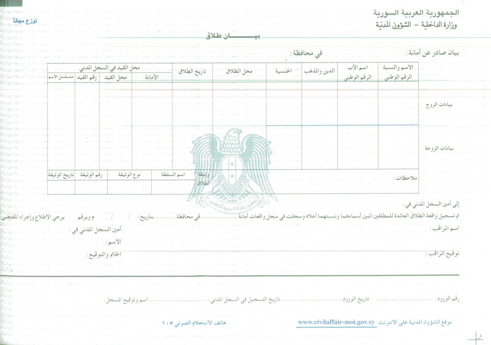 I need a blank islamic divorce decree templete pdf in Arabic from – Blank Divorce Decree